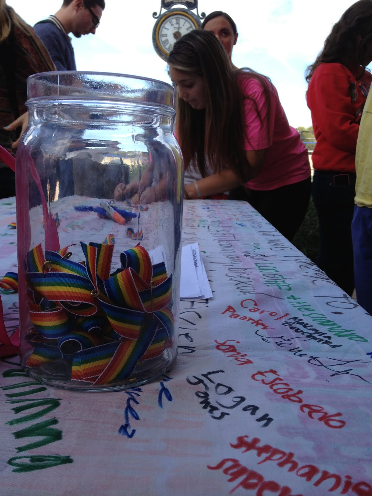 Many people came to the Quad to support the GSA and signed the Ally Pledge.
