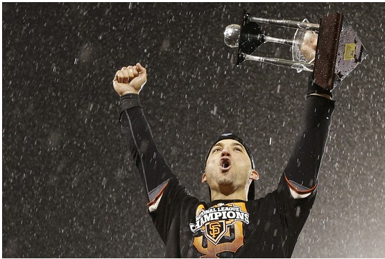 Giants second baseman Marco Scutaro celebrates his team's series win.