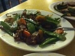 Snow Pea Beef with carrots and garlic