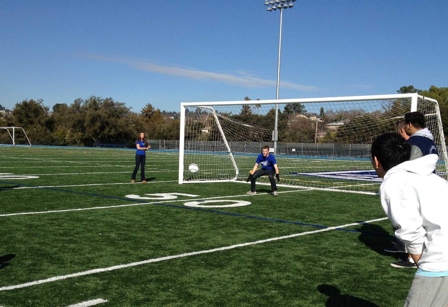 Luke Branscum blocks goal kicked by Team Unnamed.