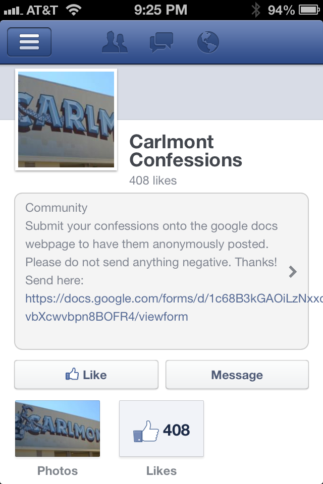 Carlmont Confessions Facebook page has gained hundreds of likes in a few days.