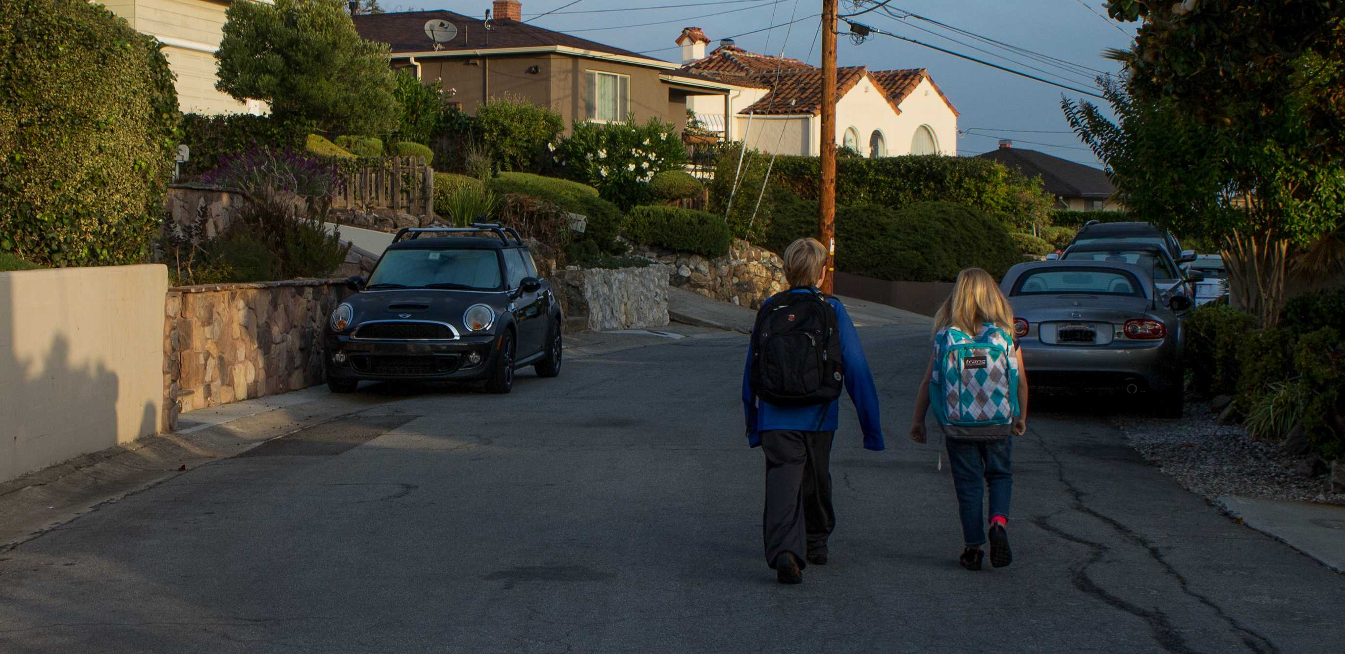 Students Athena and Liam Frederick walked to school on International Walk to School Day.