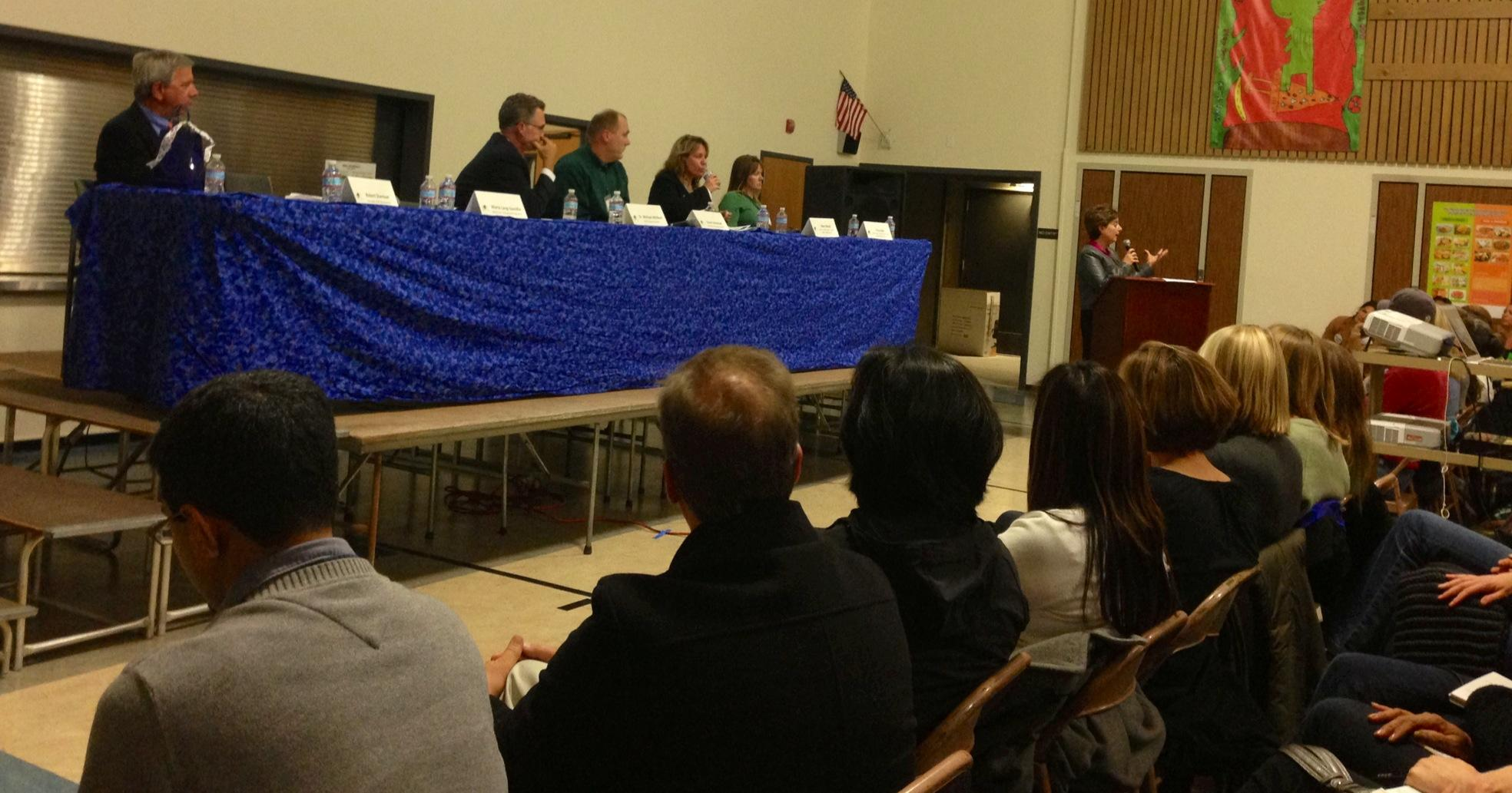 Maria Lang-Gavidia speaks at a CCSS meeting to educate parents.