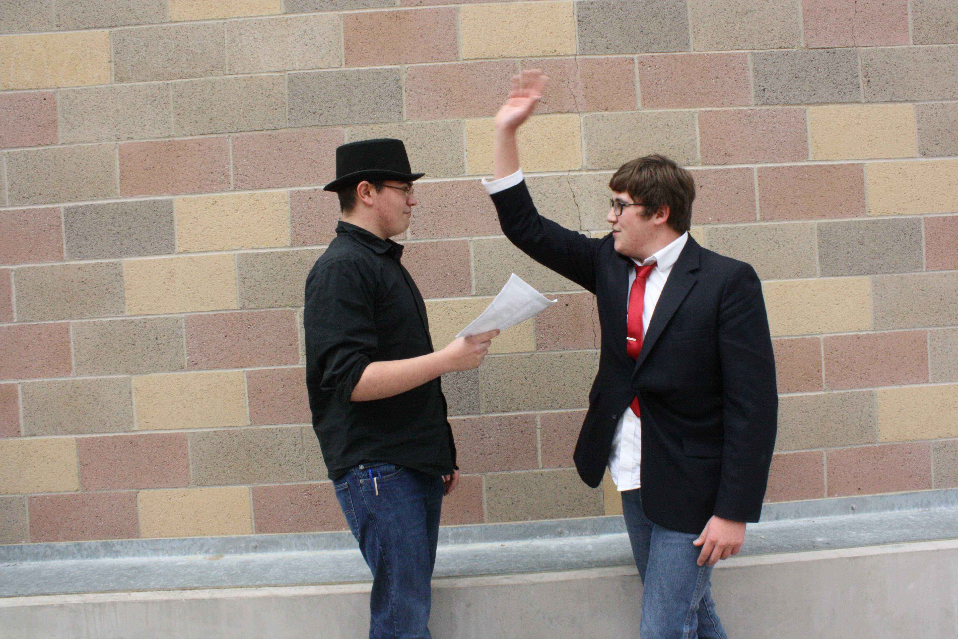 Seniors Daniel Thompson and Bradley Goodwin rehearse a scene for drama class.