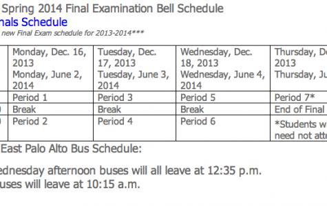 New final exam schedule