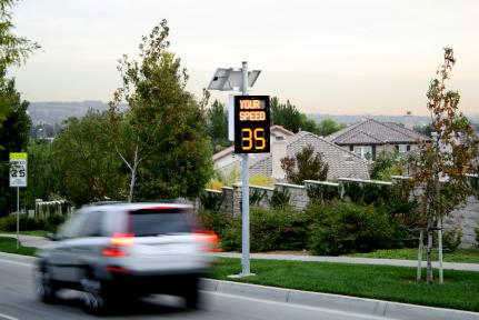 Speed radar signs distribute tickets
