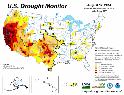 This map taken from http://www.ncdc.noaa.gov/ illustrates California's severe drought.