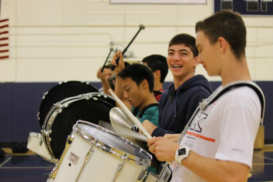 Drumline+members+have+fun+as+they+practice+for+their+upcoming+performances.