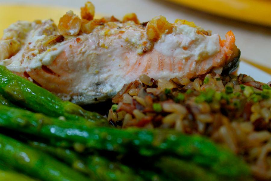 Dijon Salmon with wild rice and asparagus