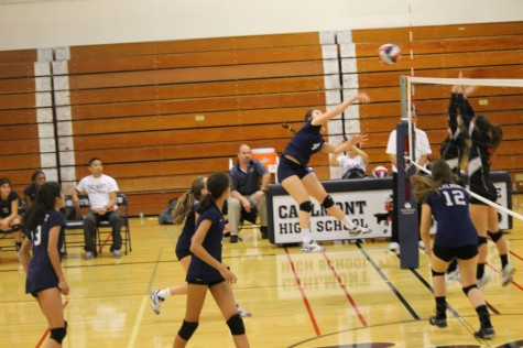Outside Hitter Anya Meredith plays key role in fighting off the Wildcats net-game.
