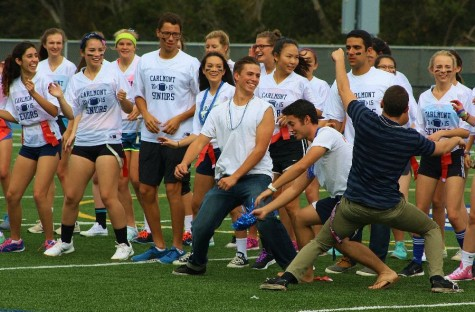 The senior team surprised spectators during their Powderpuff game with an impromptu dance number by both the girls on the team and their enthusiastic male cheering section.
