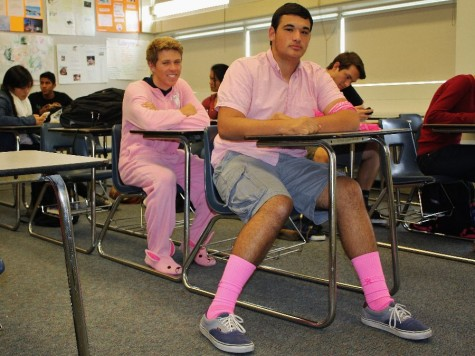 Juniors Sam Levy and Lukas Kelly displayed their spirit by wearing pink even on a day when only sophomores and juniors were present at  school due to the PSAT.