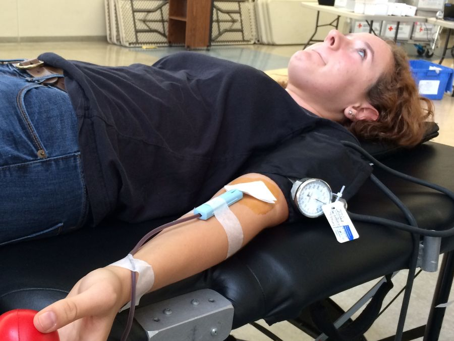 Zoe+Wildman+braces+herself+while+getting+blood+drawn+during+Carlmont%27s+blood+drive.