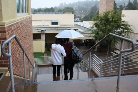 Students cope with heavy rain