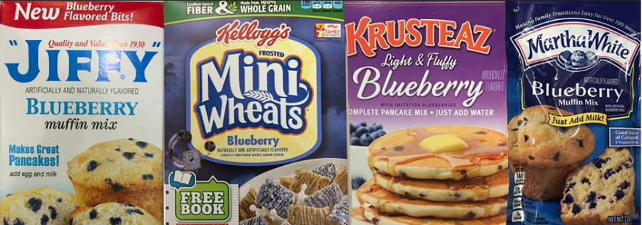 Examples of products that use blueberry substitutes.