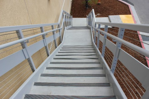 Staircases with railings lead to the upper level of the U-wing. Students can also access the second level using an elevator located at the center of the building.