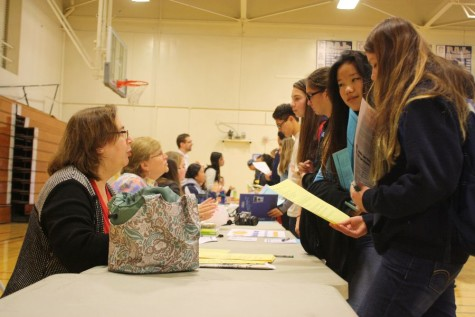 Teachers and students discuss the curriculum of potential course choices.
