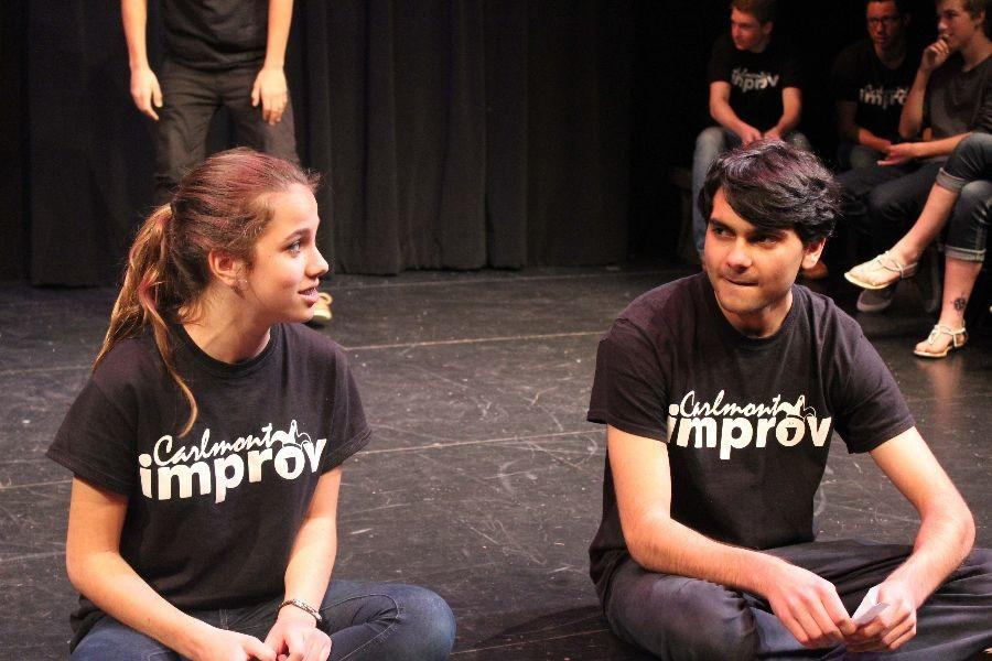 Sophomore+Sophie+Clark+and+junior+Nick+Roe+do+voice-overs+in+a+team+challenge+during+the+Improv+show%2C+which+took+place+on+Friday%2C+Feb.+21+at+Carlmont%27s+Black+Box+Theater.