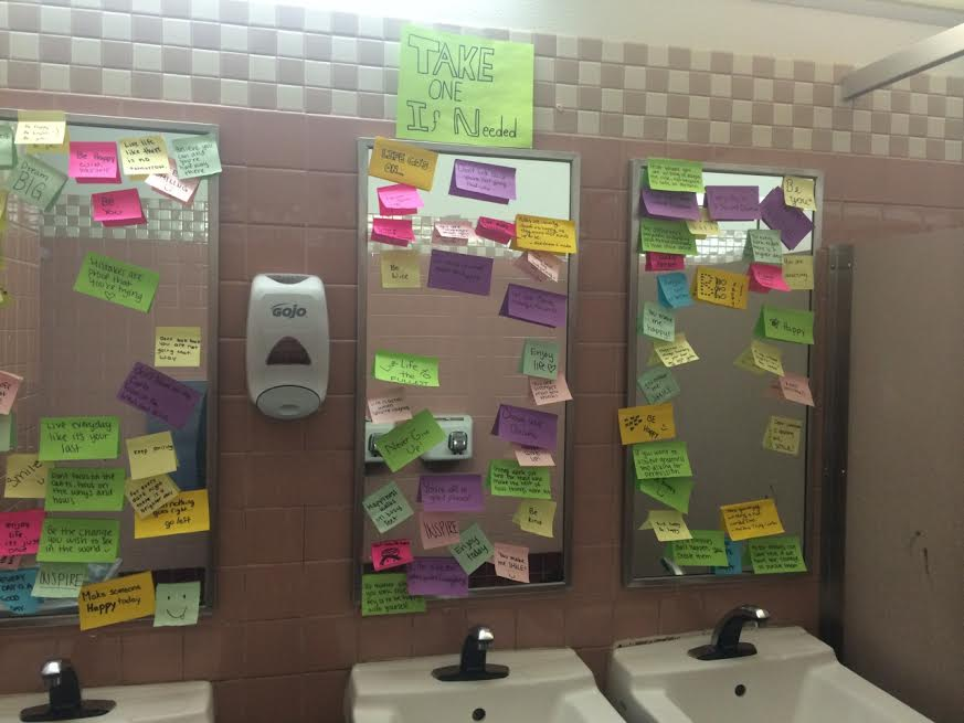 Sticky+notes+in+the+girls+D-Hall+bathroom