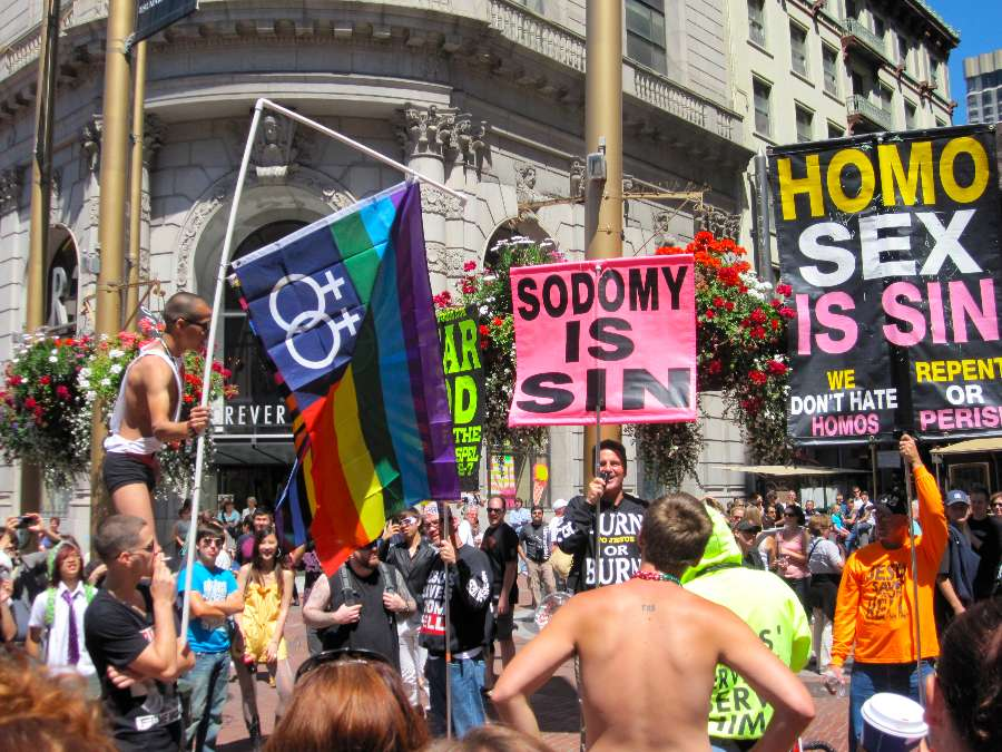 Conservative Christian protestors at a 2006 San Francisco pride event