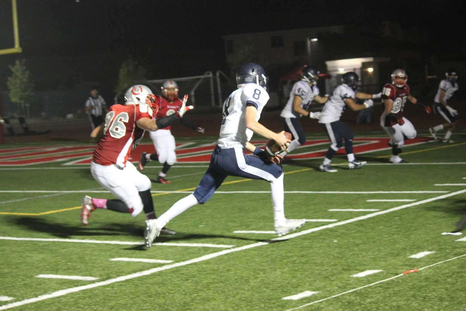 Sophomore quarterback Timmy Palthe going for the touchdown.