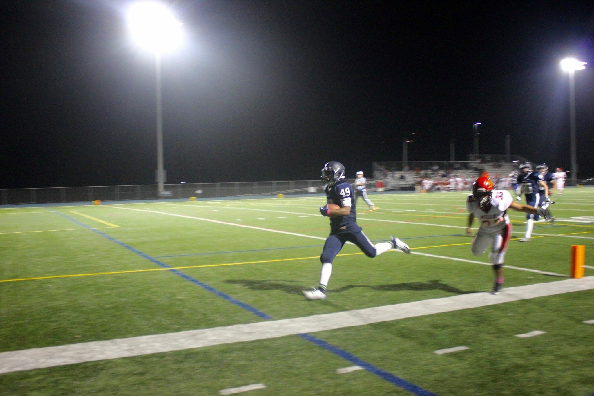 Senior Shanil Patel ran with an interception to score a touchdown.