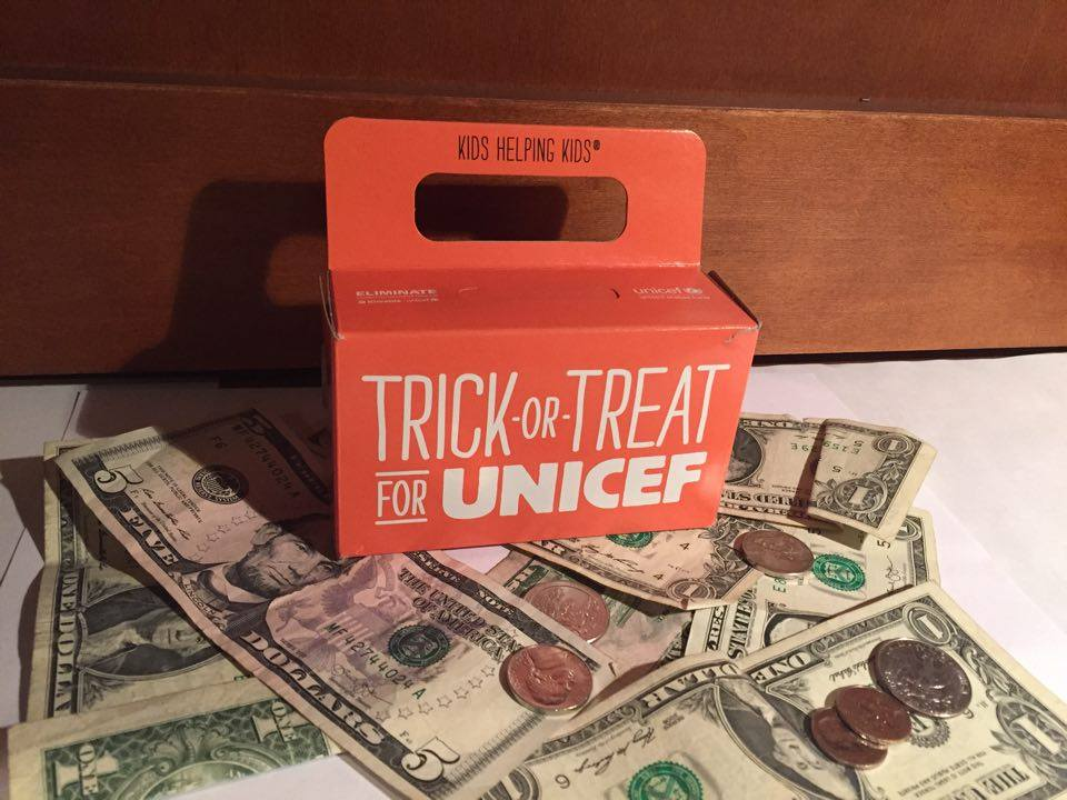 Some students collected donations while trick-or-treating.