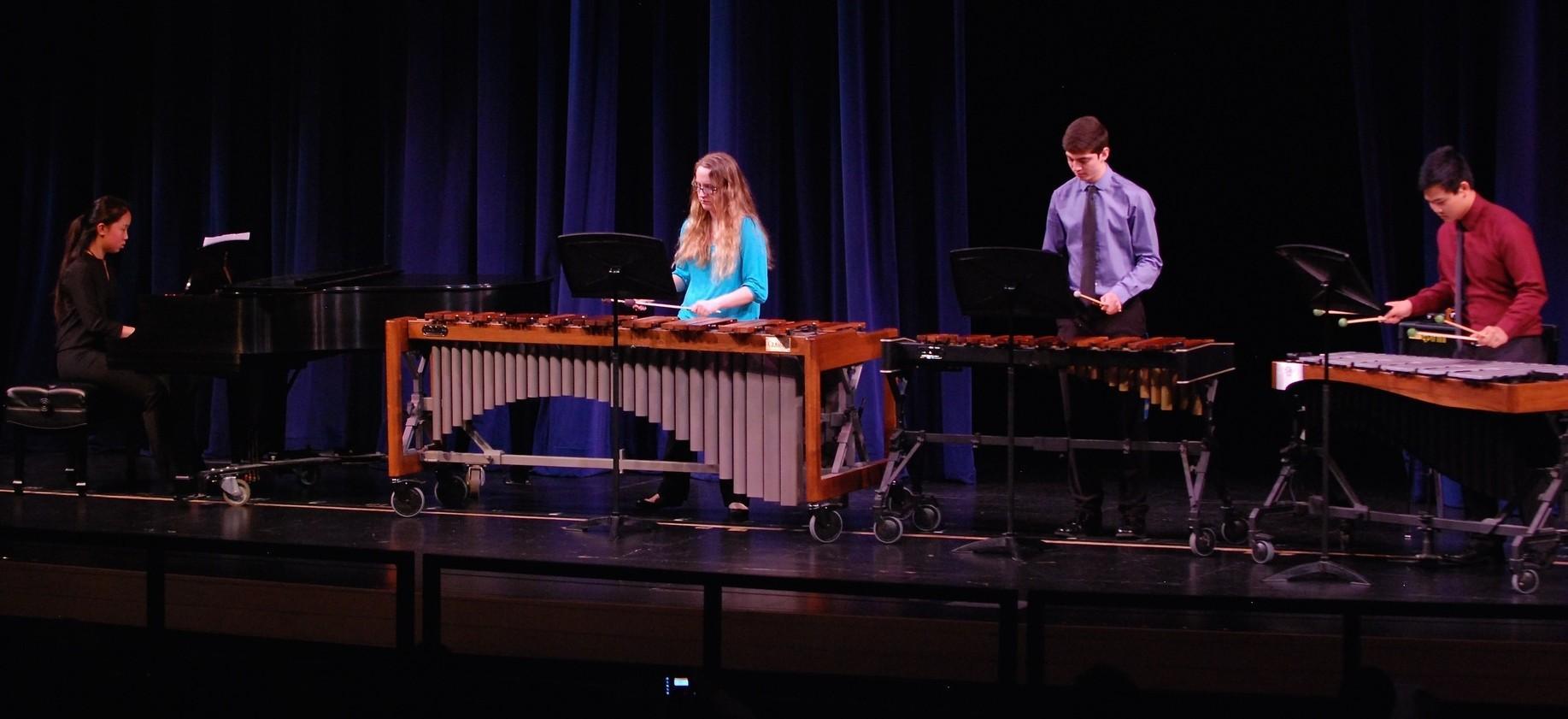 "Junior Jenna Williamson arranged Scott Joplin's ""Maple Leaf Rag"" for Chamber Music Night. Williamson played with juniors Noah Shamsai, Kyle Jung, and sophomore Madeleine Li."