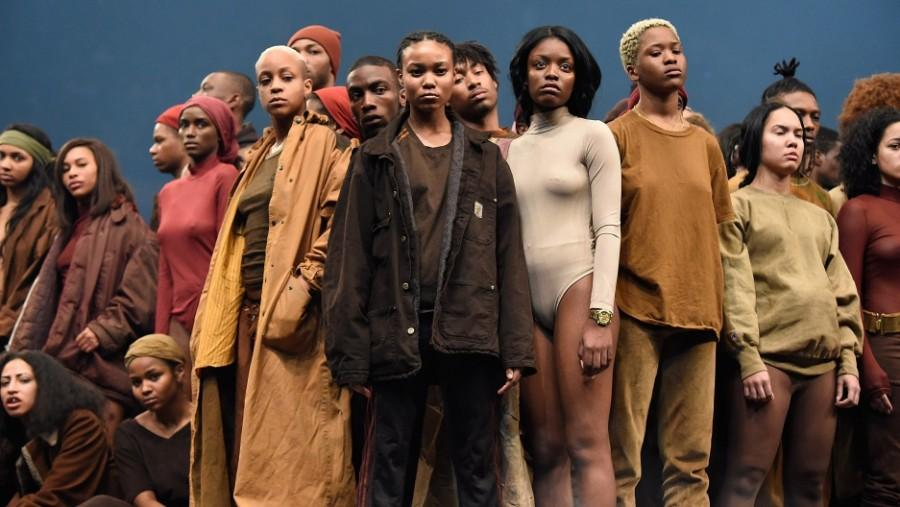 Predominantly+black+models+pose+for+Kanye+West%27s+Yeezy+Season+3%2C+which+debuted+in+Madison+Square+Garden+in+New+York.+