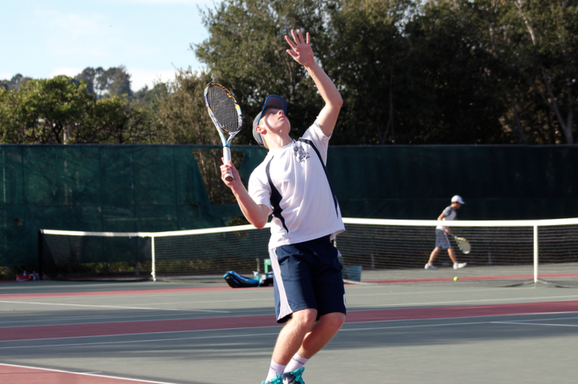Goldie+gets+ready+to+serve+the+tennis+ball.+He+said%2C+%22Going+into+this+game%2C+Josh+and+I+were+confident.%22