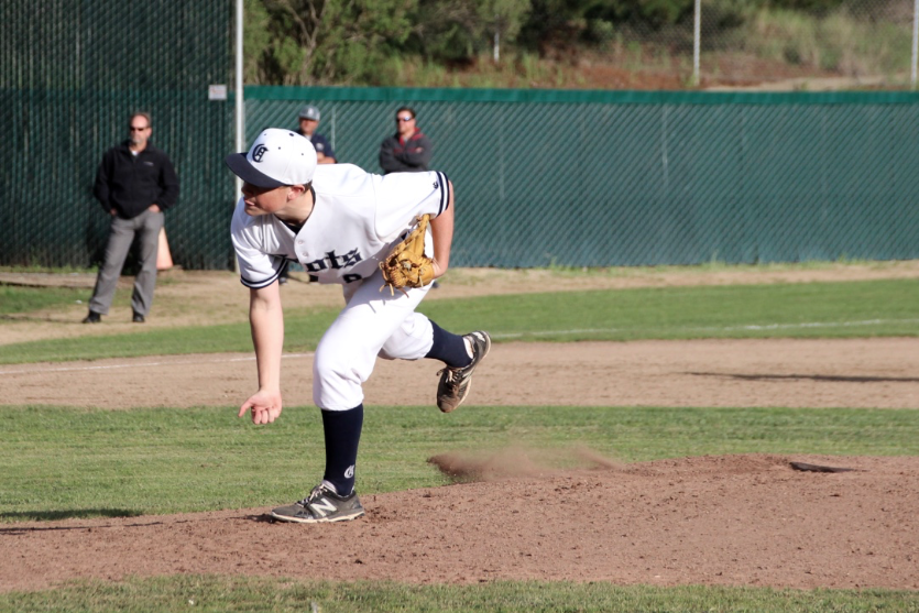 Senior+Timmy+Miller+throws+a+fast+pitch+at+the+hitter.+He+said%2C+%22It+was+great+to+sweep+Burlingame+and+get+off+to+a+2-0+start.+I+did+my+best+as+a+pitcher%2C+and+I+think+it+paid+off.%22