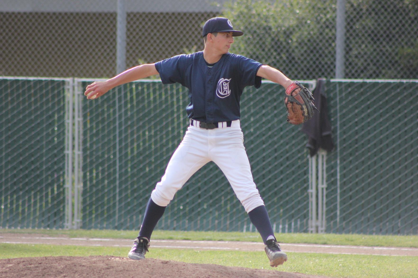 Freshman pitcher David Bedrosian winds up for a pitch. Bedrosian only allowed one of the nine runs allowed by the Scots.