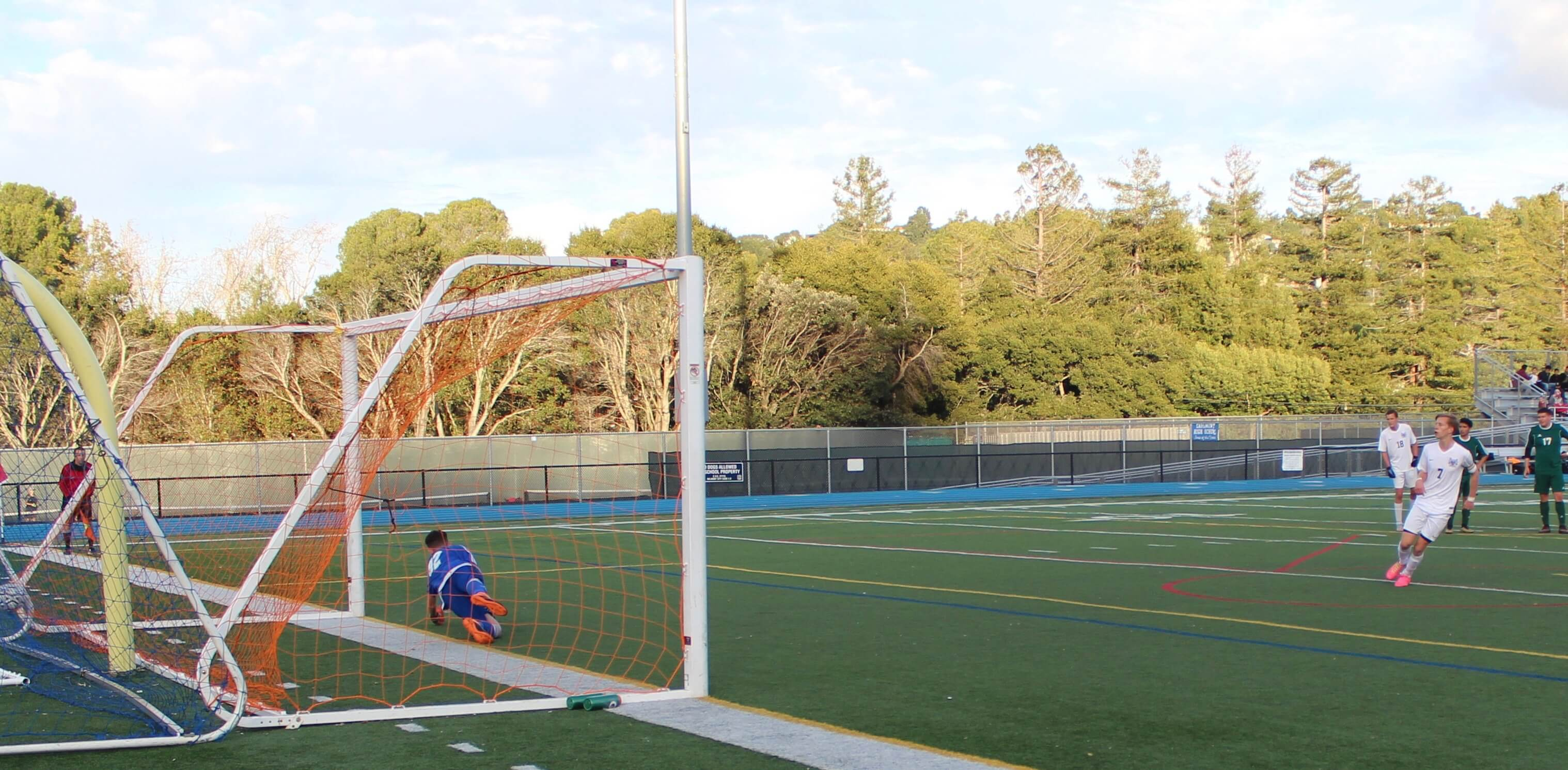 Brett Fitzpatrick scores a penalty kick to put the Scots further ahead.