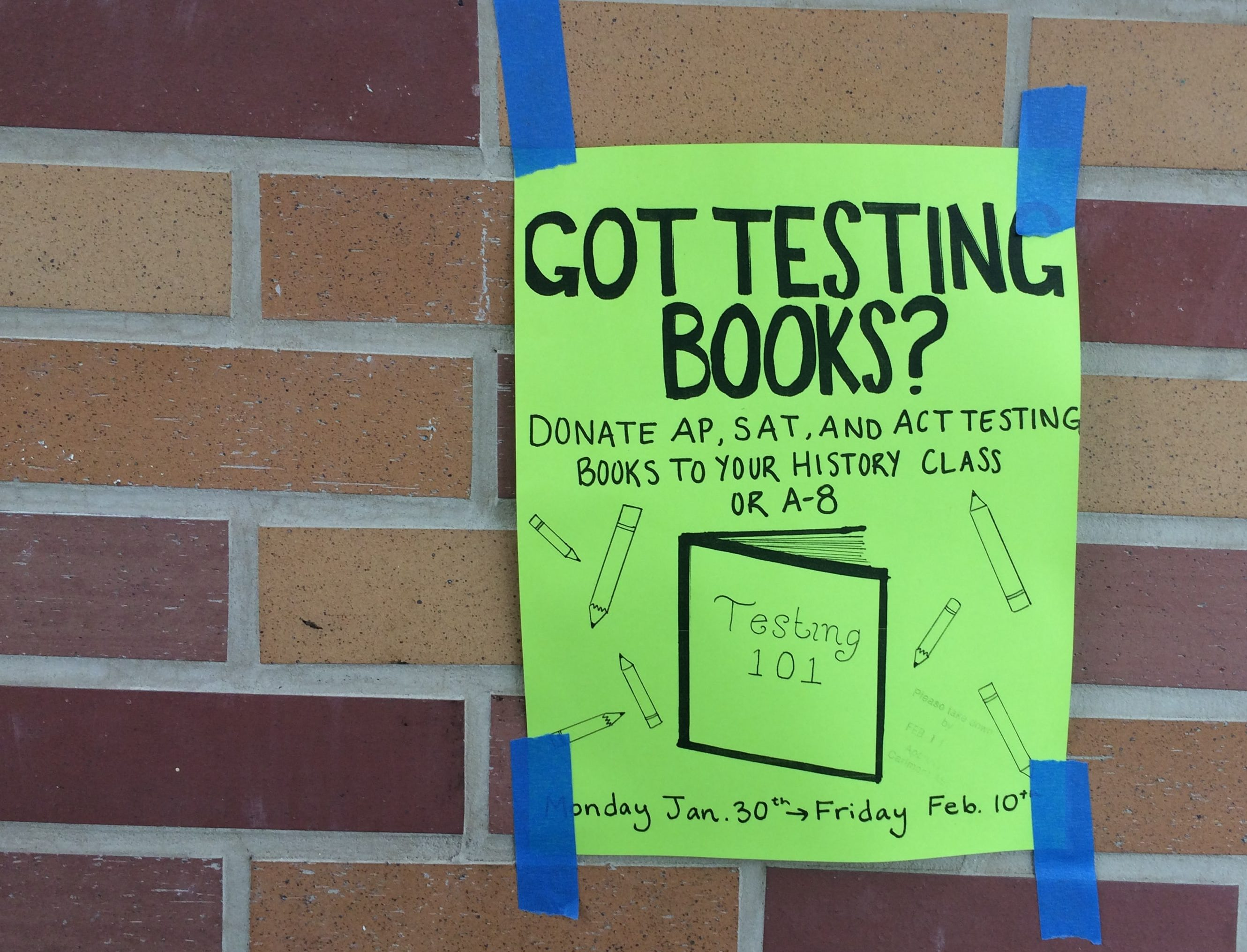 ASB promotes the testing book drive around campus.