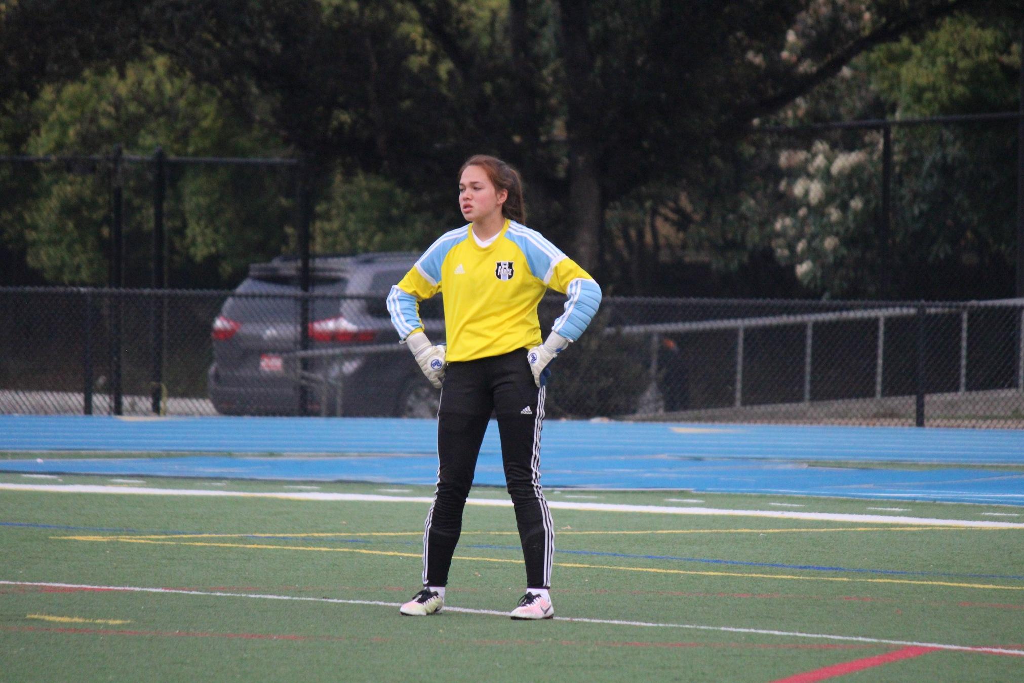 Freshman+Sarah+Stulbarg+defends+the+goal+throughout+the+season.+