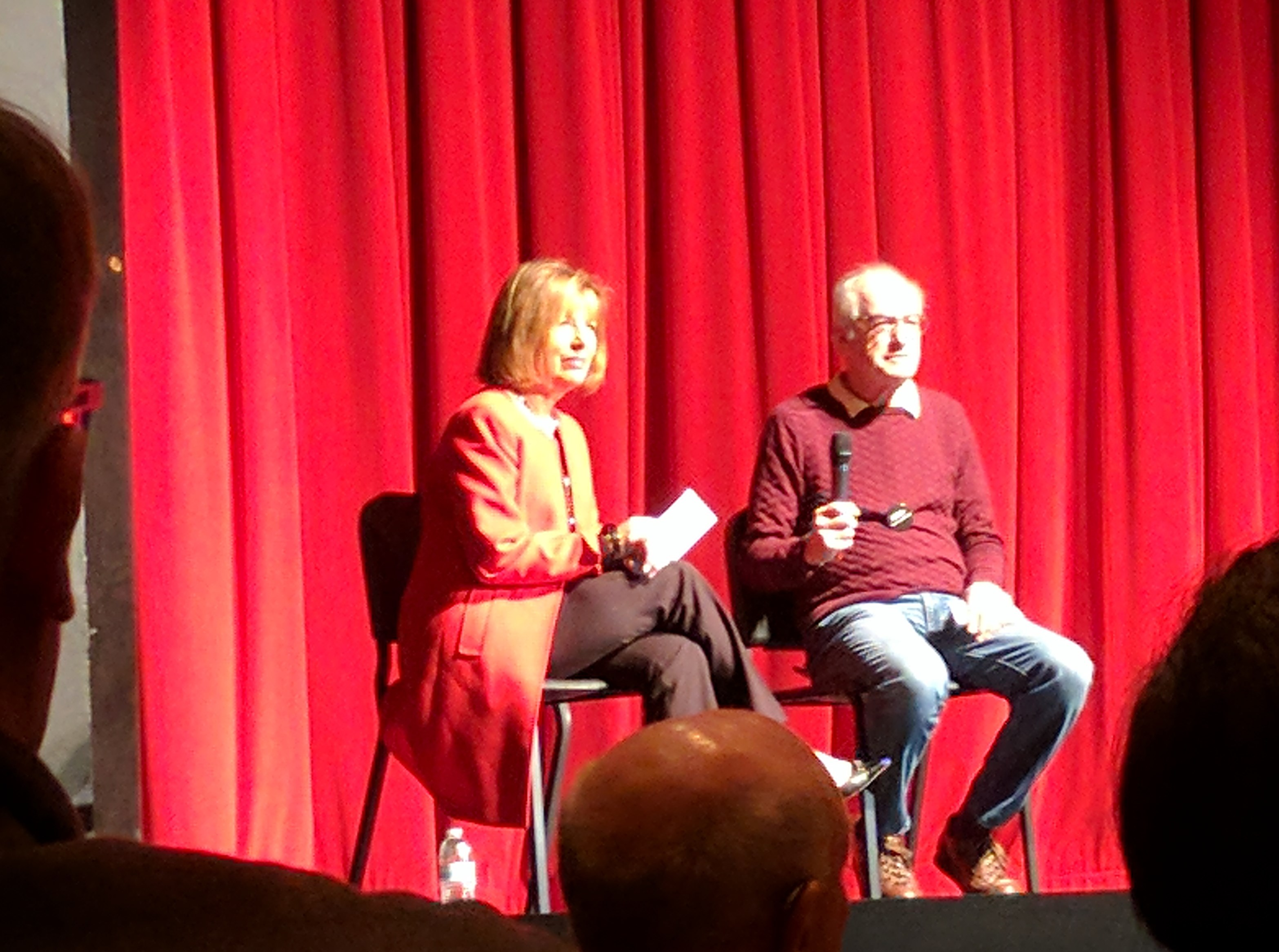 Stan+Goldberg%2C+president+of+the+Lowell+High+School+PTSA%2C+organized+the+event.+He+and+Speier+had+a+brief+discussion+before+the+audience+received+a+microphone.