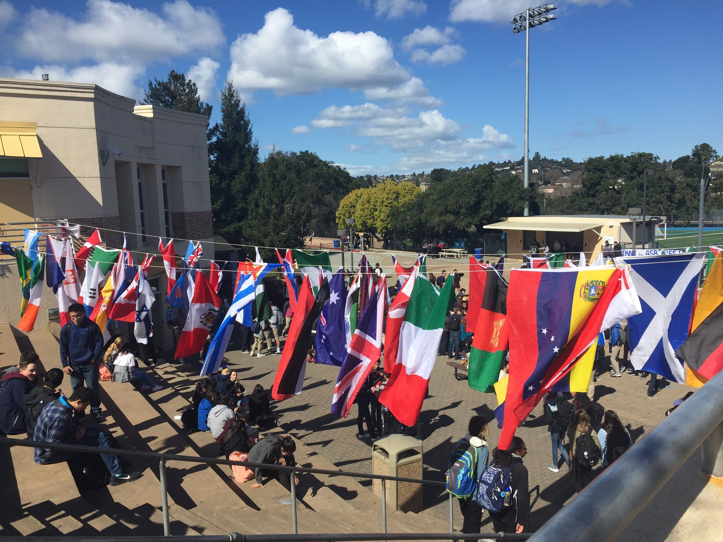 Flags are hung above the quad to celebrate the diversity of all students.