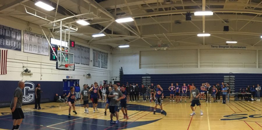 The+staff+vs.+student+basketball+game+was+held+in+the+main+gym+on+March+24.+The+students+lost+with+a+score+of+24-17.