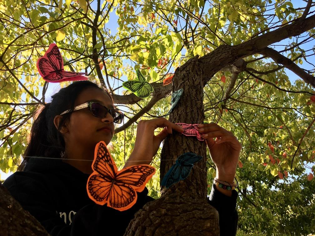 Divya Menon, a sophomore, hangs up colorful butterflies in honor of Earth Day.