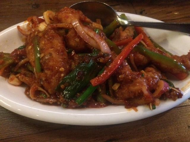 The+Chili+Prawns+were+spicy+--+a+persisting+inferno+on+the+delicate+tongue.+Nonetheless%2C+they+were+gigantic%2C+tender%2C+and+very+good.