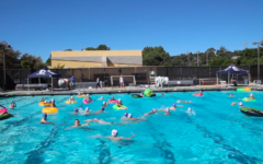 Students cool off with inner tube water polo