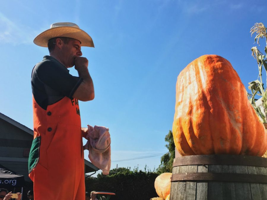 Farmer+Mike%2C+%E2%80%9CThe+Picasso+of+Pumpkin+Carvers%E2%80%9D%2C++demonstrated+his+skills+and+told+his+audience+some+pumpkin+carving+tips.