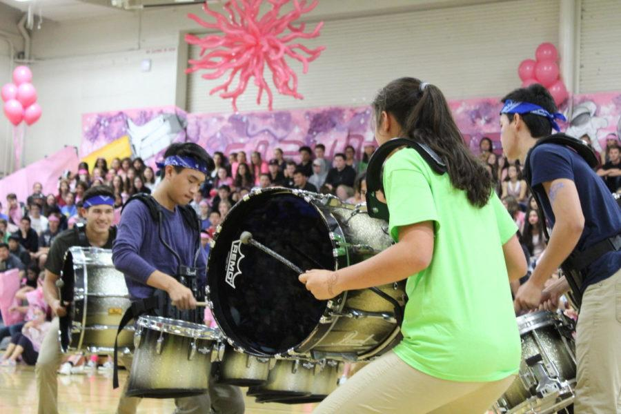 Drum+line+performs+as+one+of+acts+at+the+homecoming+assembly%2C+which+is+one+of+many+activities+ASB+puts+on.
