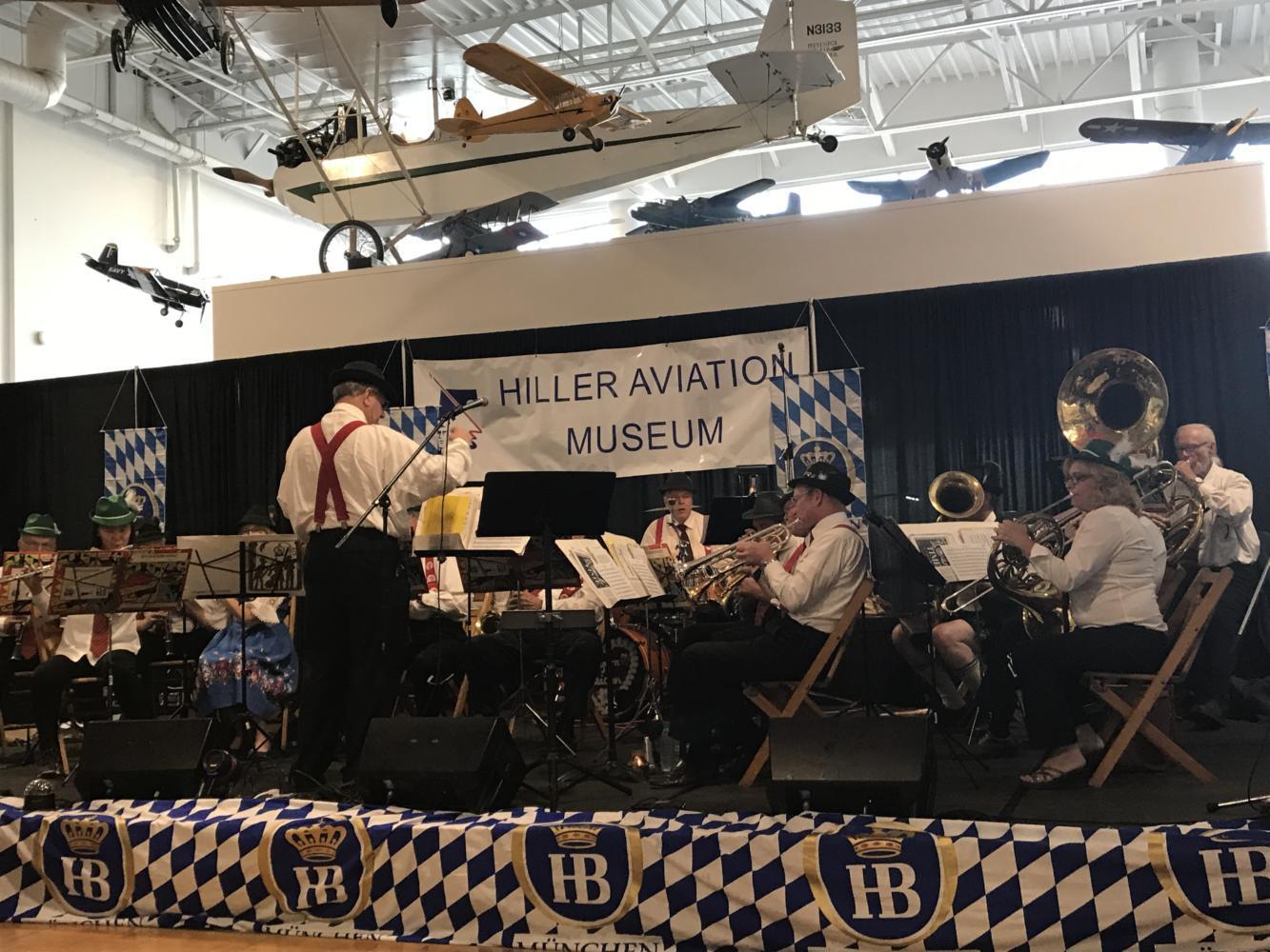San Mateo Elks Concert Band performs traditional German folk music live.