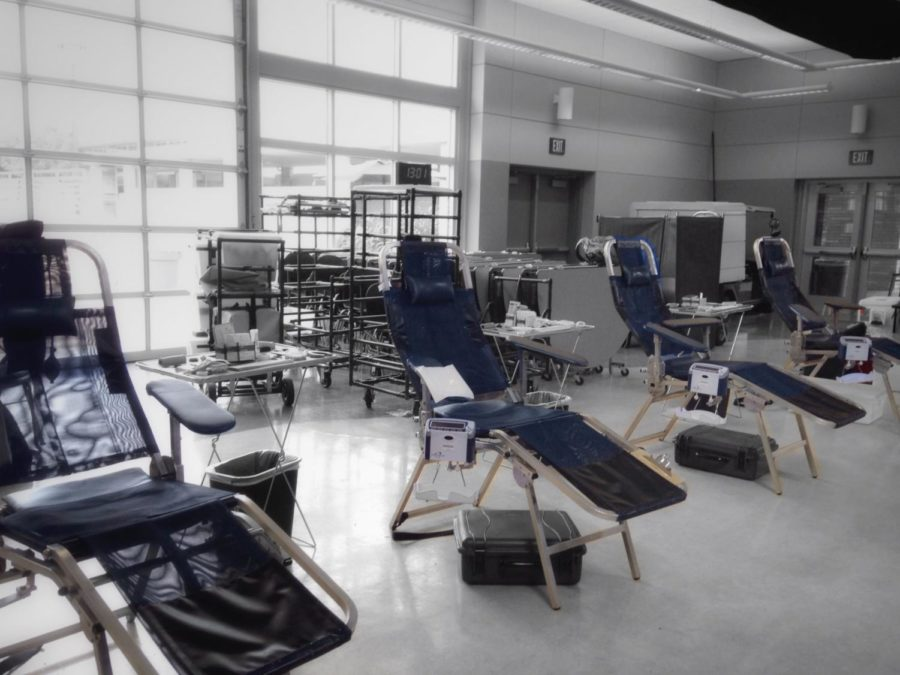 Blood+donation+equipment+replace+lunch+tables+in+the+Student+Union.