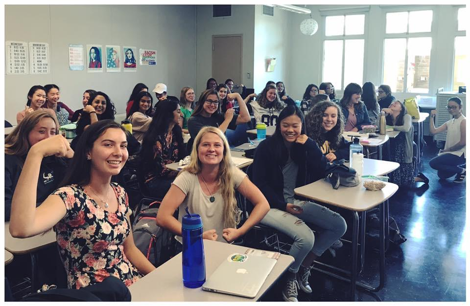 Feminist Club gathers for their first meeting in D8 on Sept. 8. The group talked about their goals for this year and why feminism is important today.