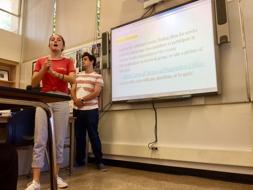 Carlmont Key Club Vice President Isabella Mattioli and Editor Onik Russinov present current club service opportunities at one of their Thursday meetings in room D12.