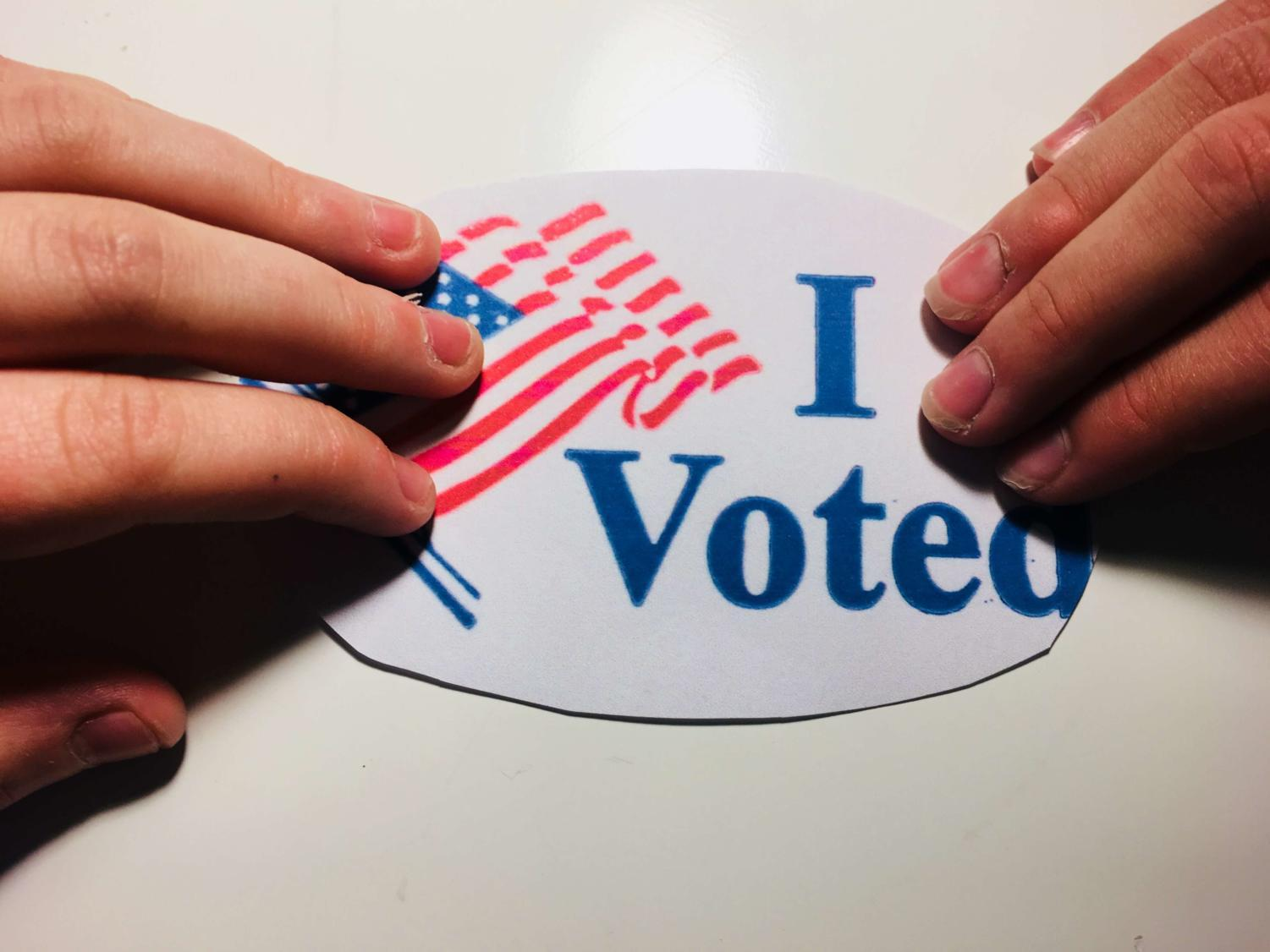 Voters received a sticker after casting their votes for during the Nov. 7 elections.