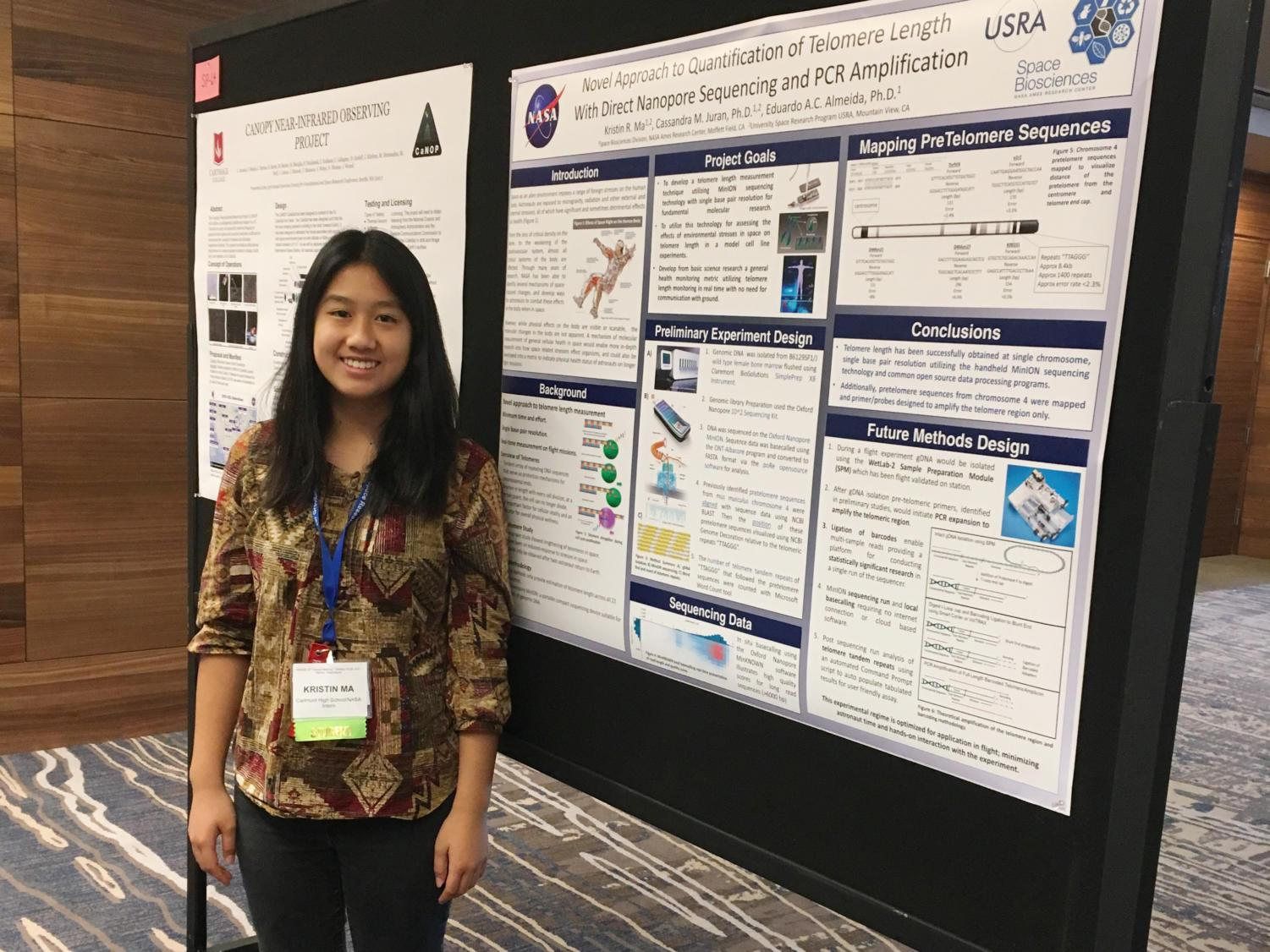 Kristin Ma, a senior and member of Carlmont's Biotechnology Institute, presents her project at the American Society for Gravitational and Space Research conference.