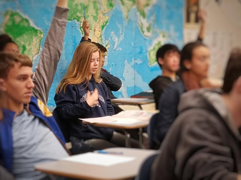 Sophomore Sophia Krackov answers a question in her AP European history class. Krackov said,